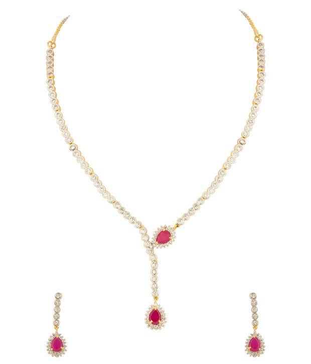 Voylla Cz Studded Gold Plated Necklace Set Dainty Drop Pendant