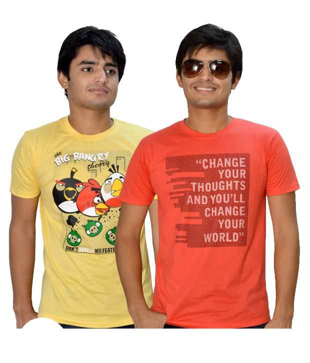 Delhi Seven Pack Of Yellow-Orange  T Shirts