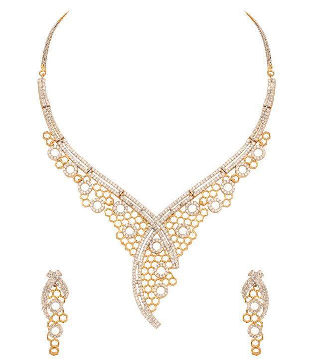 Voylla Golden Web; Necklace Set with Web Inspired Design; Gold Plating