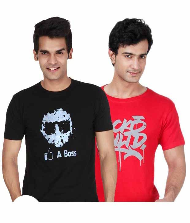Grand Bear Red-Black Pack Of 2 T-Shirts with Free Watch