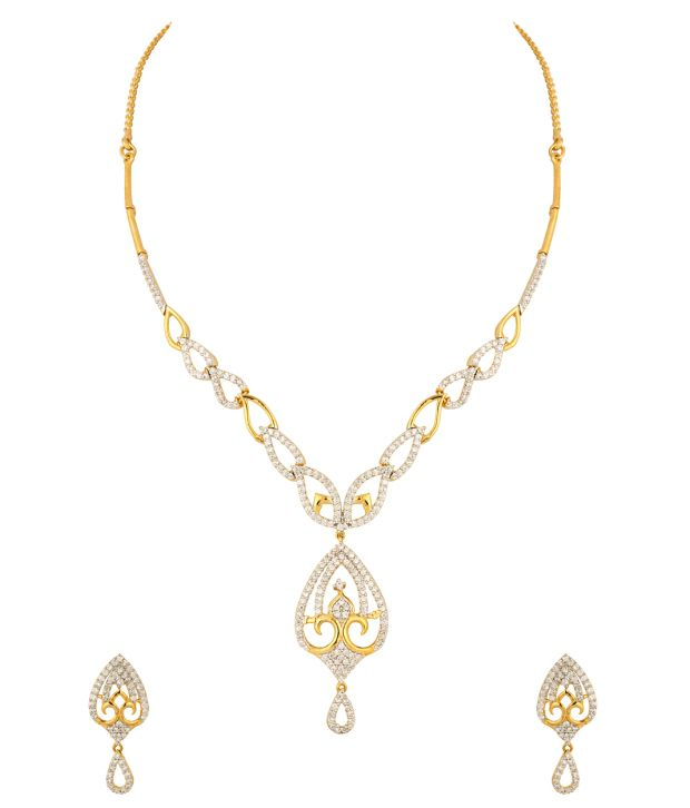 Voylla Necklace Set with Lovely Golden Sparkling Heart Design; Cz; Gold Plating
