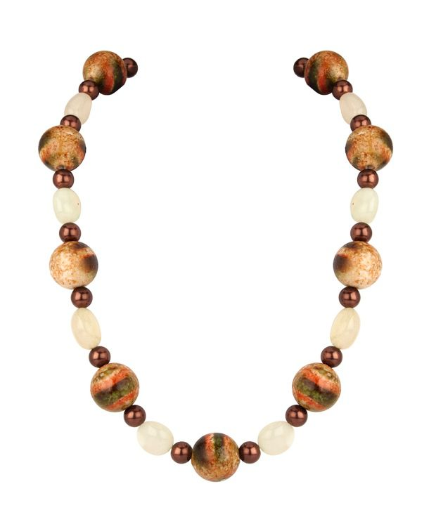 Voylla Necklace with Brown and Multi Color beads and Natural stones