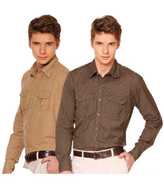 Street Junkies Beige & Brown Pack Of Two Shirts