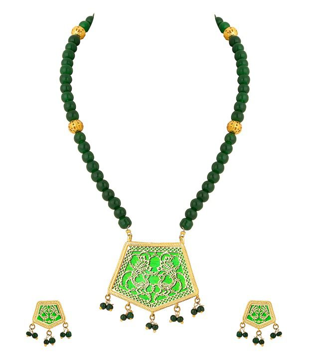 Voylla Twin Peacock Thewa Necklace Set With Gold Plating