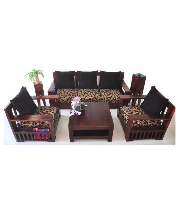 Wood Decor Light walnut Sheesham Wood Sofa Set  Plus  Plus