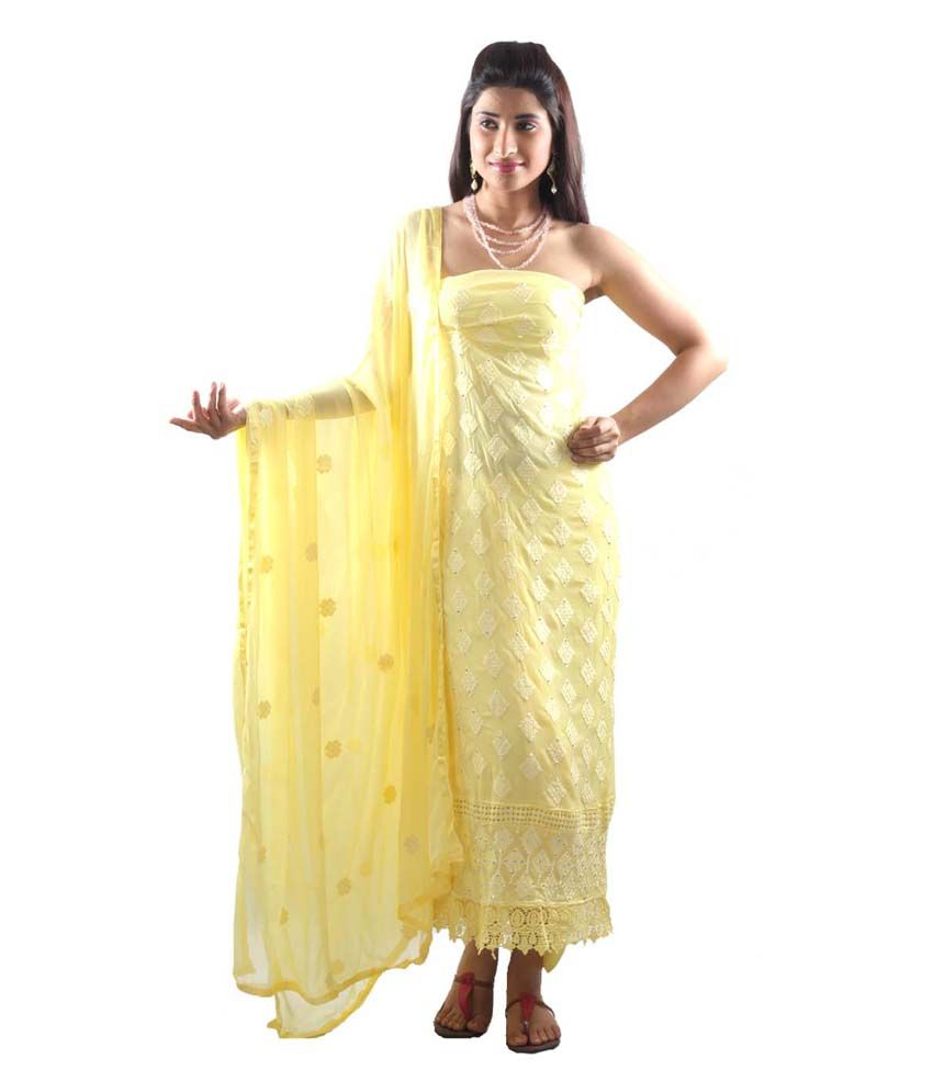 Uptown Galeria Graceful Yellow Dress Material