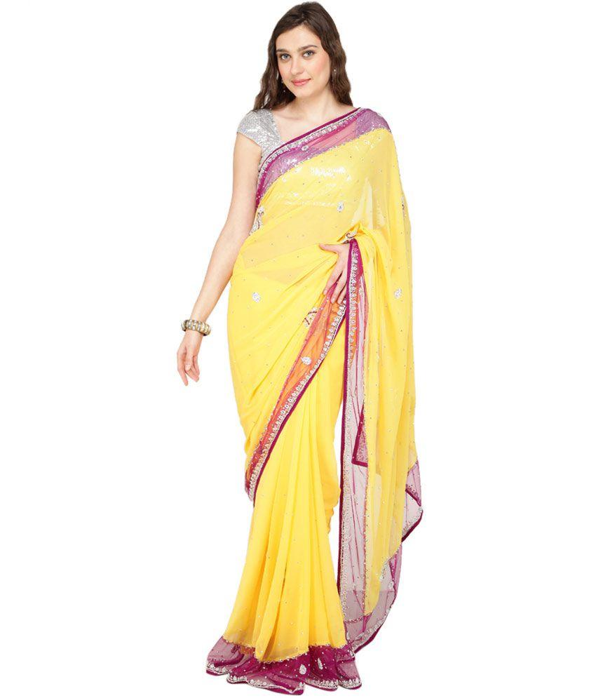 Sajni Yellow Faux Chiffon Saree