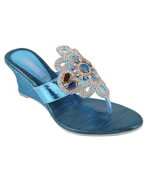 Metro Glam Blue Heeled Slip-on