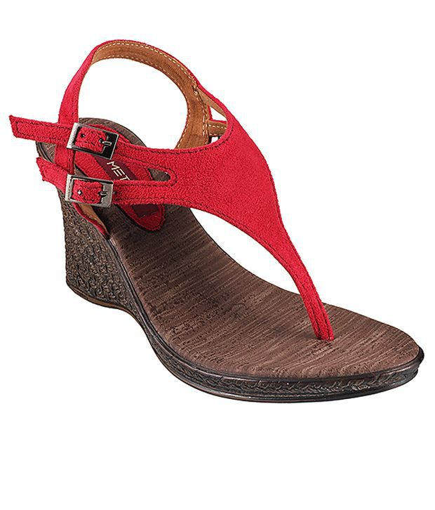 Metro Glam Red Heeled Sandals