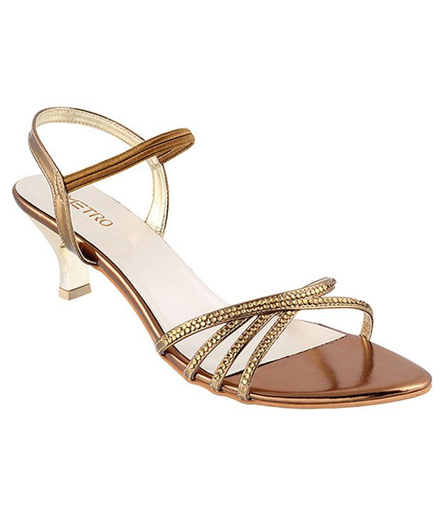 Metro Zesty Golden Heeled Sandals