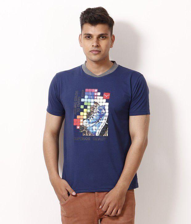 NU9 Blue Half Cotton Round  T-Shirt