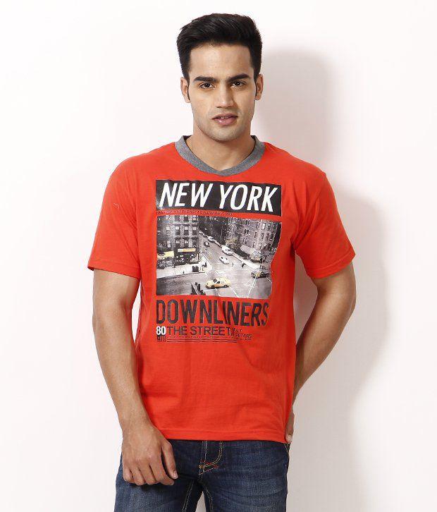 NU9 Orange Half Cotton Round  T-Shirt