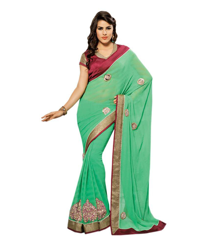 39468cf983 Neerus Green Embroidered Faux Georgette Sarees - Buy Neerus Green  Embroidered Faux Georgette Sarees Online at Low Price - Snapdeal.com