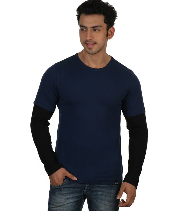 Rigo Blue Full Sleeves Cotton Round T-Shirt