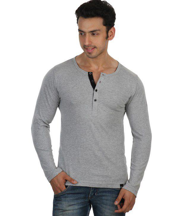 Rigo Gray Full Sleeves Cotton Henley T-Shirt