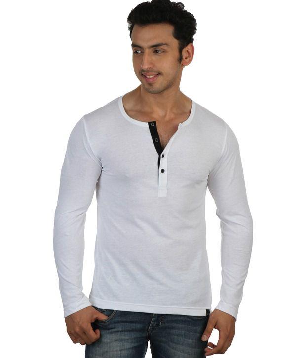 Rigo White Full Sleeves Cotton Henley T-Shirt