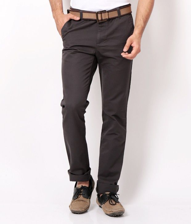 Ruggers Gray Slim Flat Trousers & Chinos