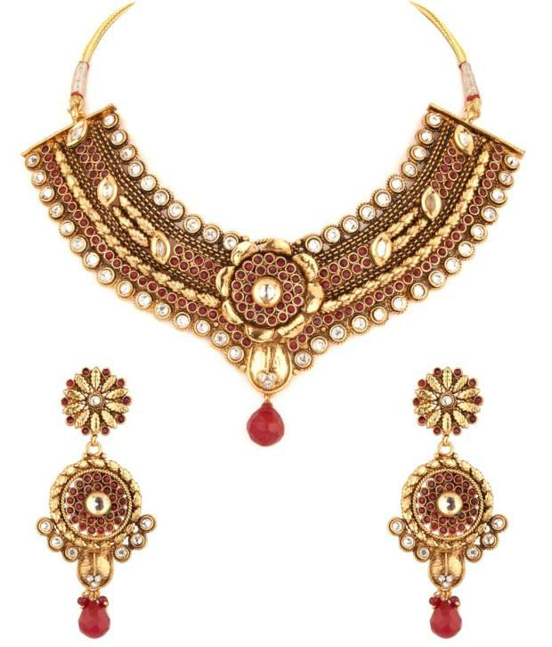 Voylla Exquisite Floral Red And Kundan Stone Necklace Set