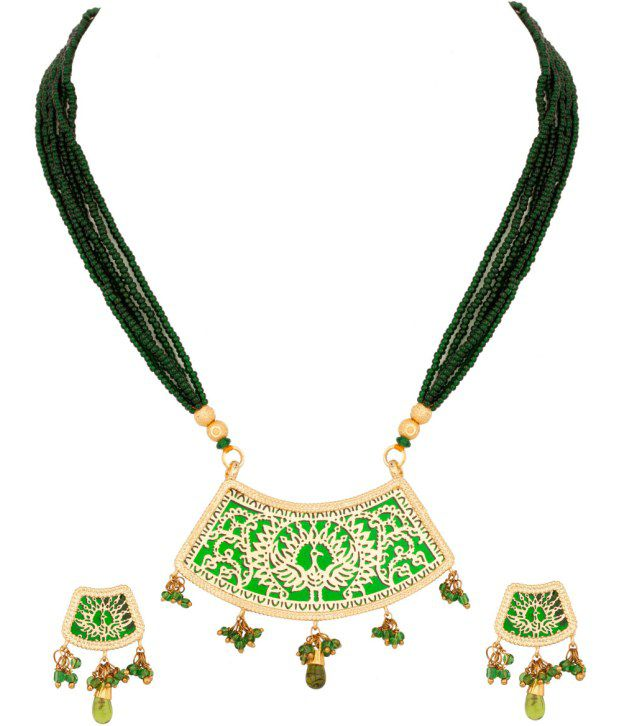Voylla Gleaming Thewa Art; Gold Plated Necklace Set