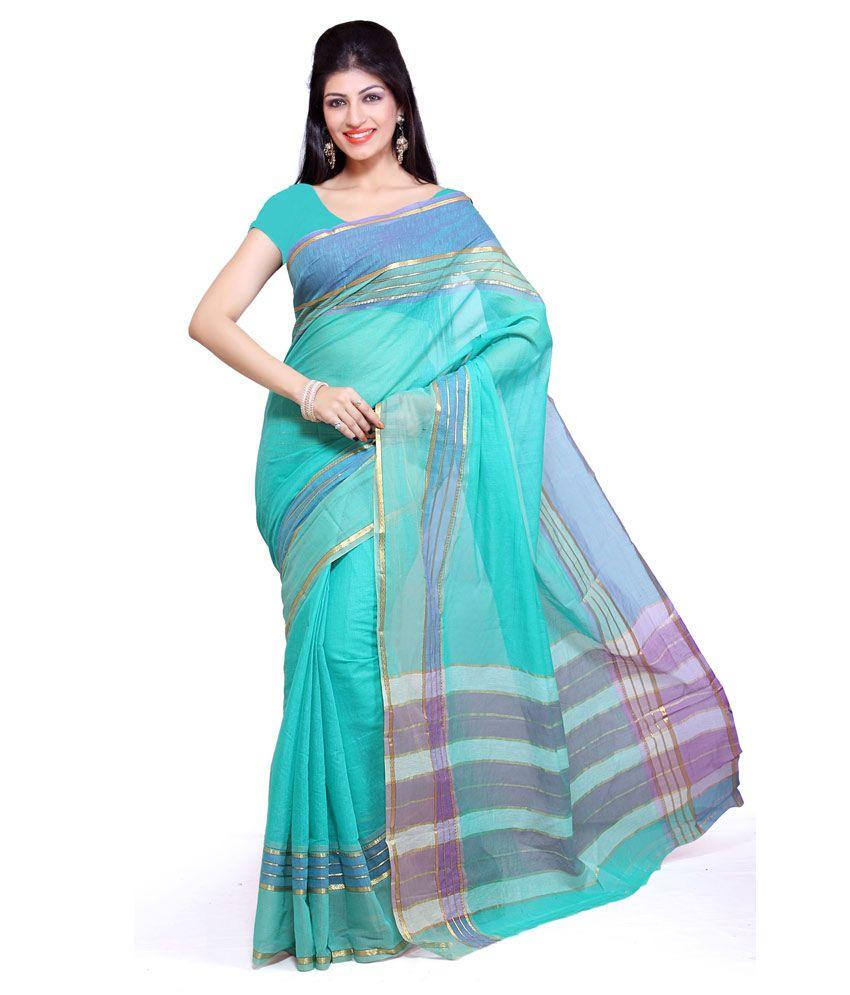 ishin blue cotton saree   buy ishin blue cotton saree