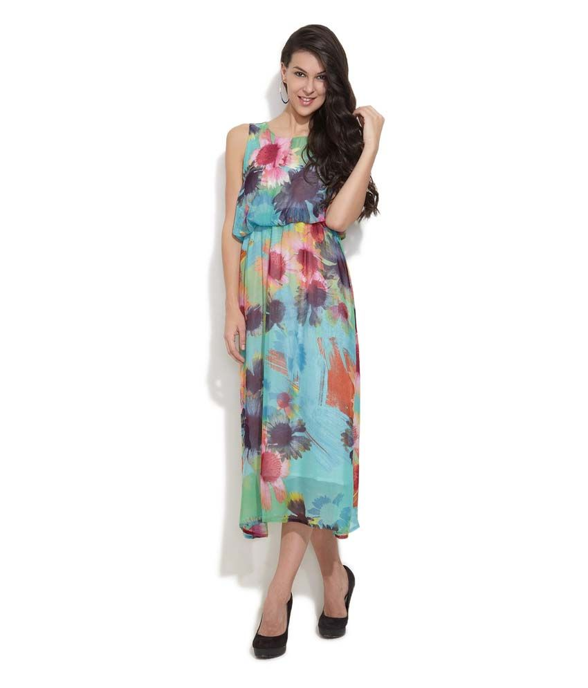 18be7a8ea6 Hotberries Multi Printed Georgette Long Dresses - Buy Hotberries Multi  Printed Georgette Long Dresses Online at Best Prices in India on Snapdeal