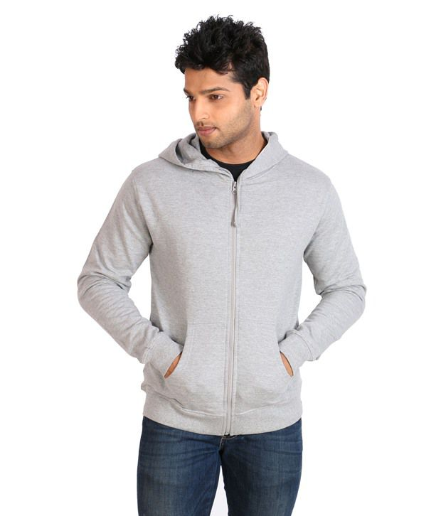 Campus Sutra Gray Full Cotton Blend Hooded  Sweatshirt