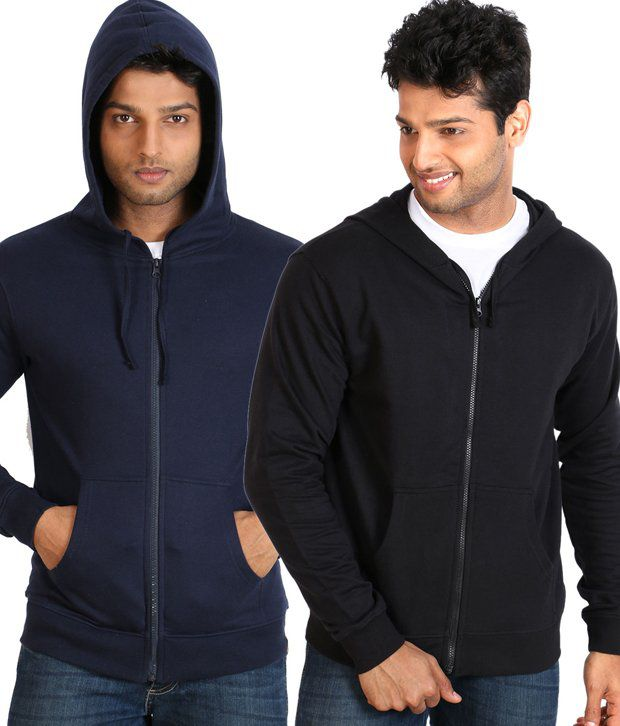 Campus Sutra Navy Black Full Cotton Blend Hooded Sweatshirt
