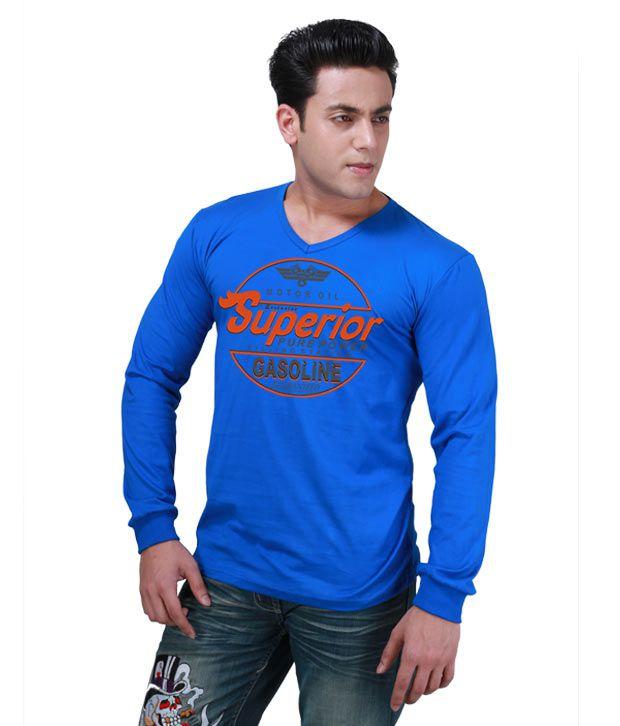 Inkovy Blue Full Cotton V-Neck T-Shirt