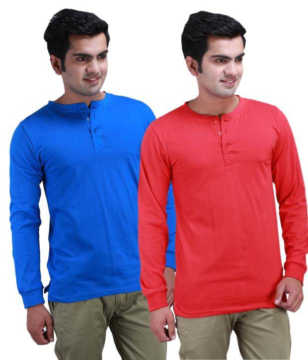 Inkovy Multi Coloured Full Cotton Henley T-Shirt
