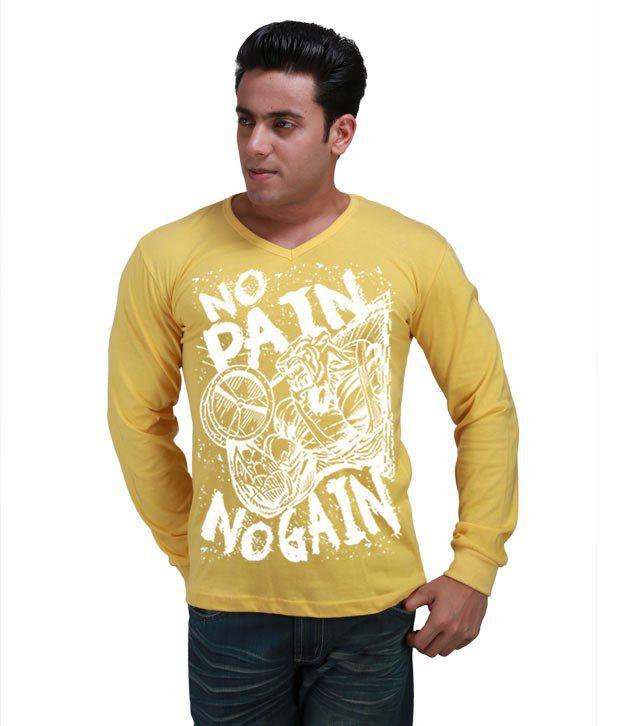 Inkovy Yellow Full Cotton V-Neck T-Shirt