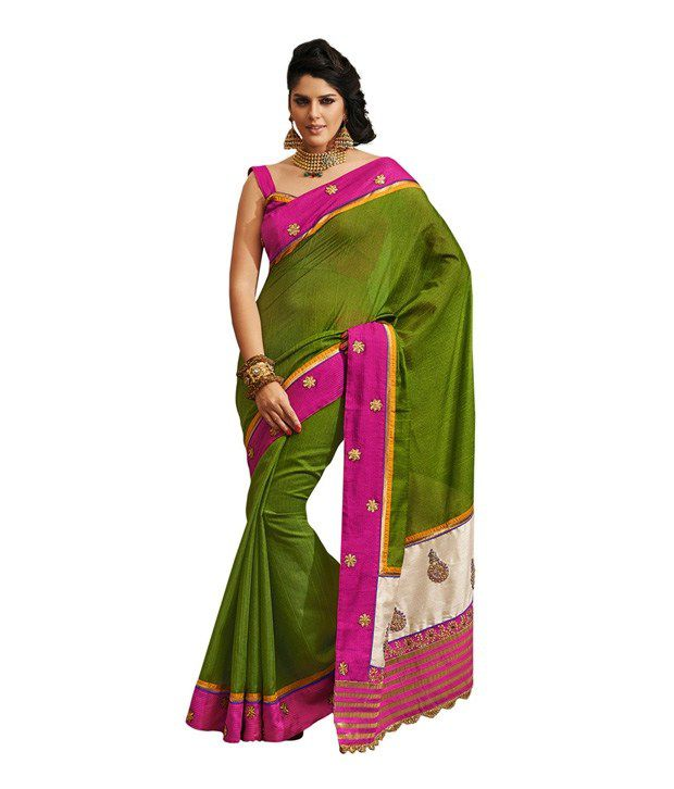 Fabdeal Green Bhagalpuri Silk Saree