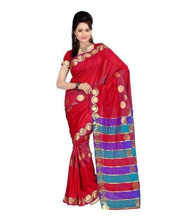 Cotton Bazaar Red Cotton Silk Saree