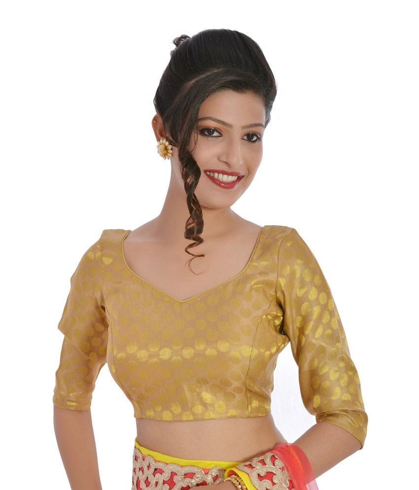 ad102c6ffc1592 Inblue Ethnic Gold Party Wear Designer Brocade Blouse - Buy Inblue Ethnic  Gold Party Wear Designer Brocade Blouse Online at Low Price - Snapdeal.com