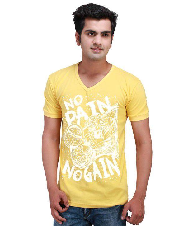 Inkovy Yellow Half Cotton V-Neck T-Shirt