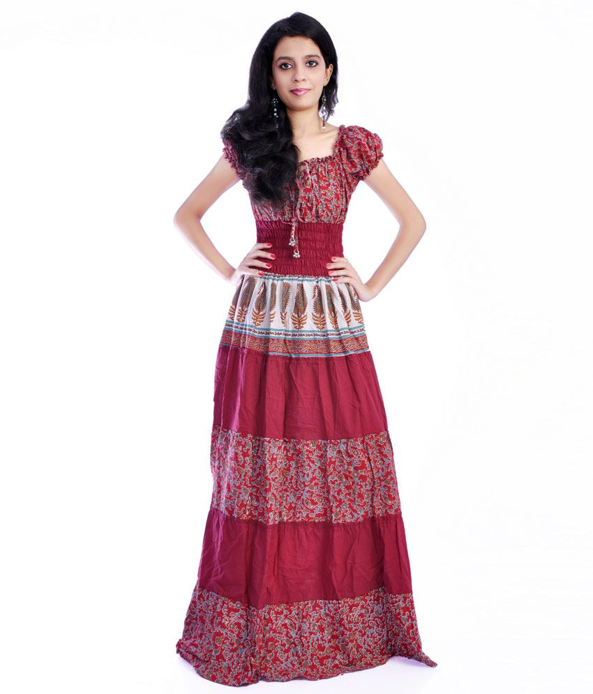 49af0494bfb7 JKK Maroon Cotton Maxi Dress Price in India