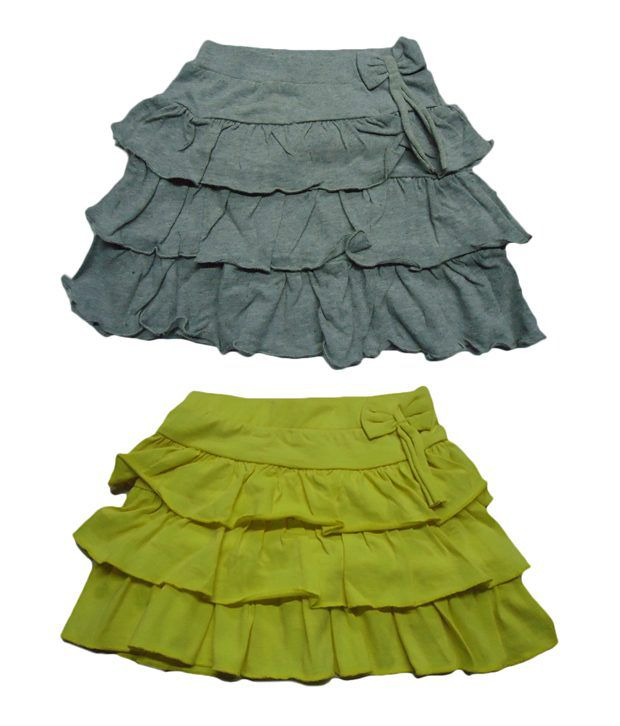 Jus Cubs Pack of 2 Reffles Skirts in Yellow & Grey Colors For Infants