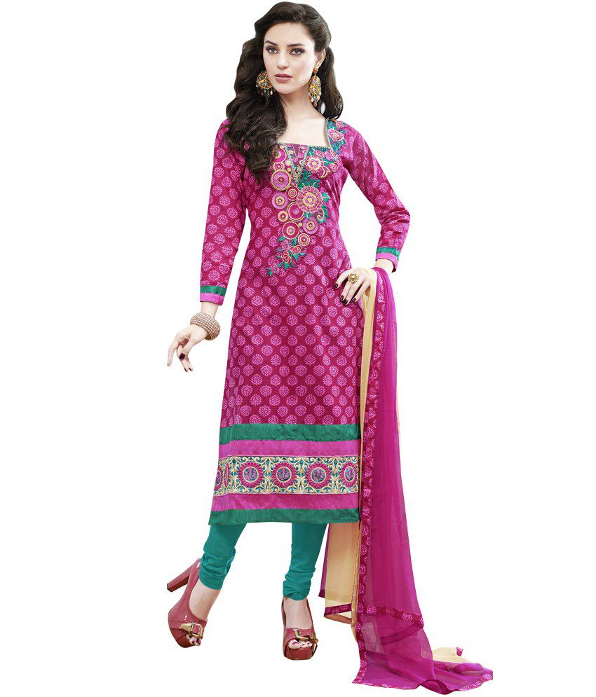 Prafful pink cotton embroidery dress material with dupatta