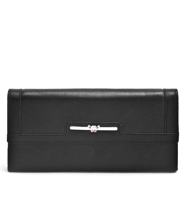 Cosmosgalaxy Black Formal Wallet For Women