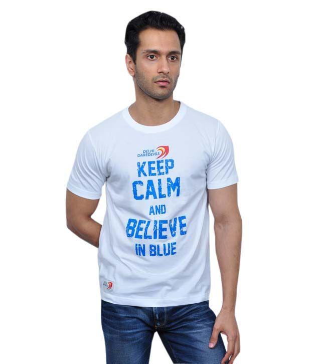 Delhi Daredevils White Half Cotton Round  T-Shirt
