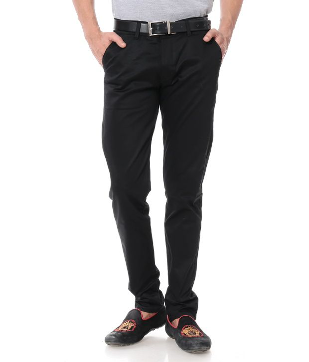 Leana Cotton Smart Black Chinos