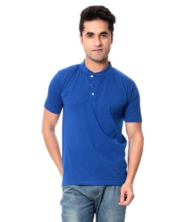 Leana Blue Half Cotton Henley T-Shirt