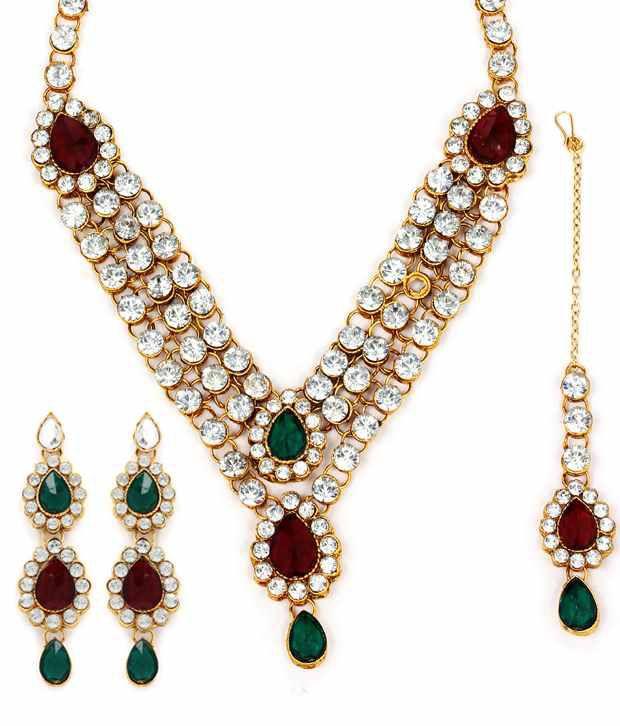 Adoreva Red Green 3 Line Bridal Necklace Tika Set 305