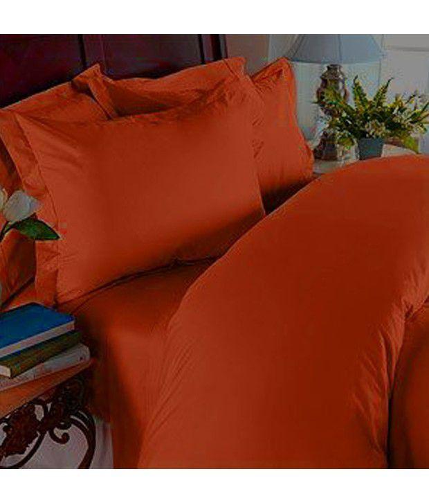 1200 Thread Count Queen 4Pc Egyptian Bed Sheet Set  Deep Pocket  Pumpkin