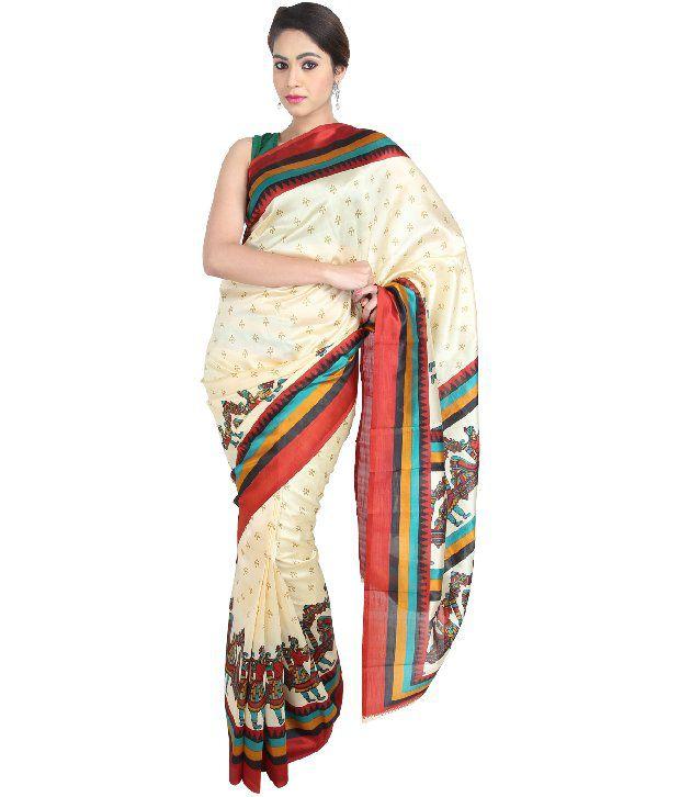 Boondh White Printed Art Silk  Sarees