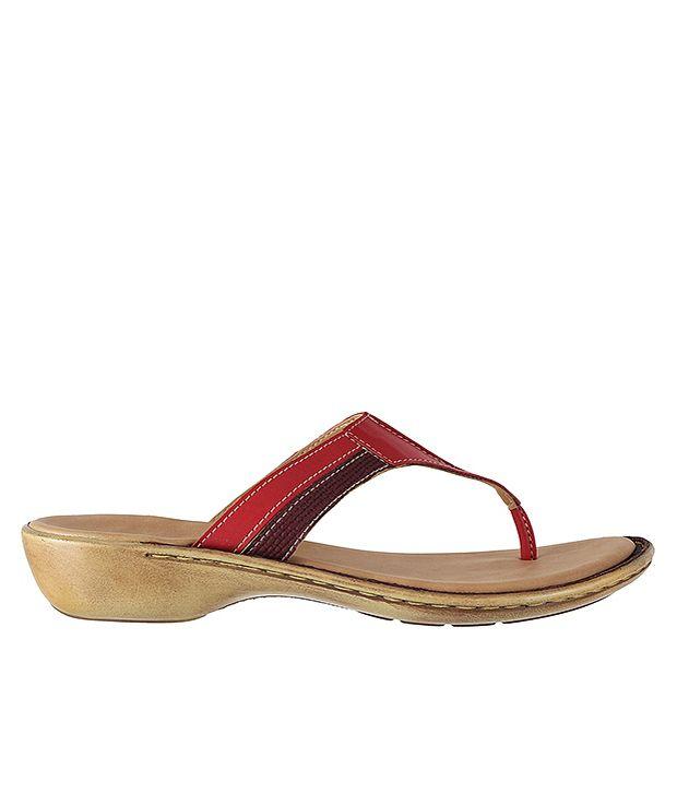 Metro Stylish Red Heeled Slip-on