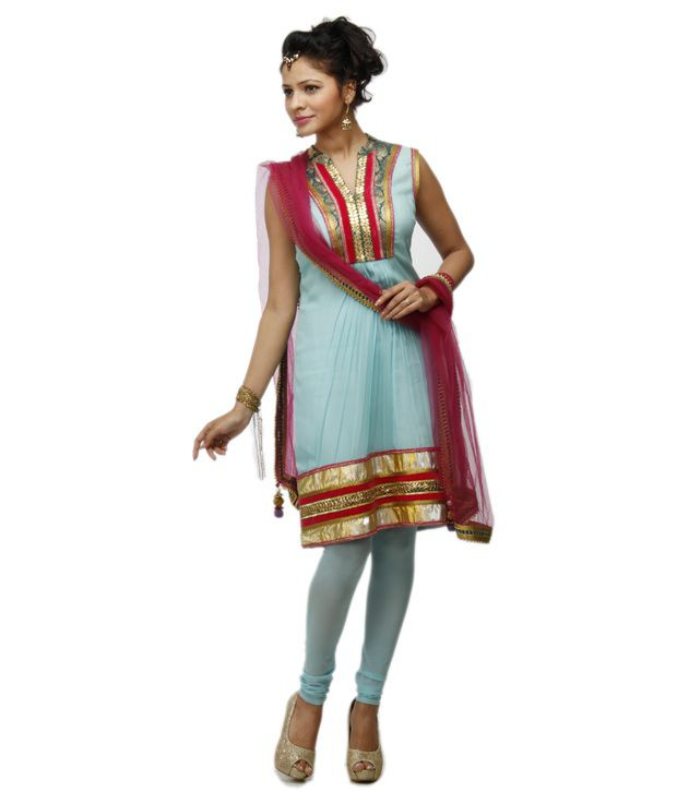 Adam N Eve Blue Embroidered Pure Georgette Stitched Straight fit  Salwar Suit