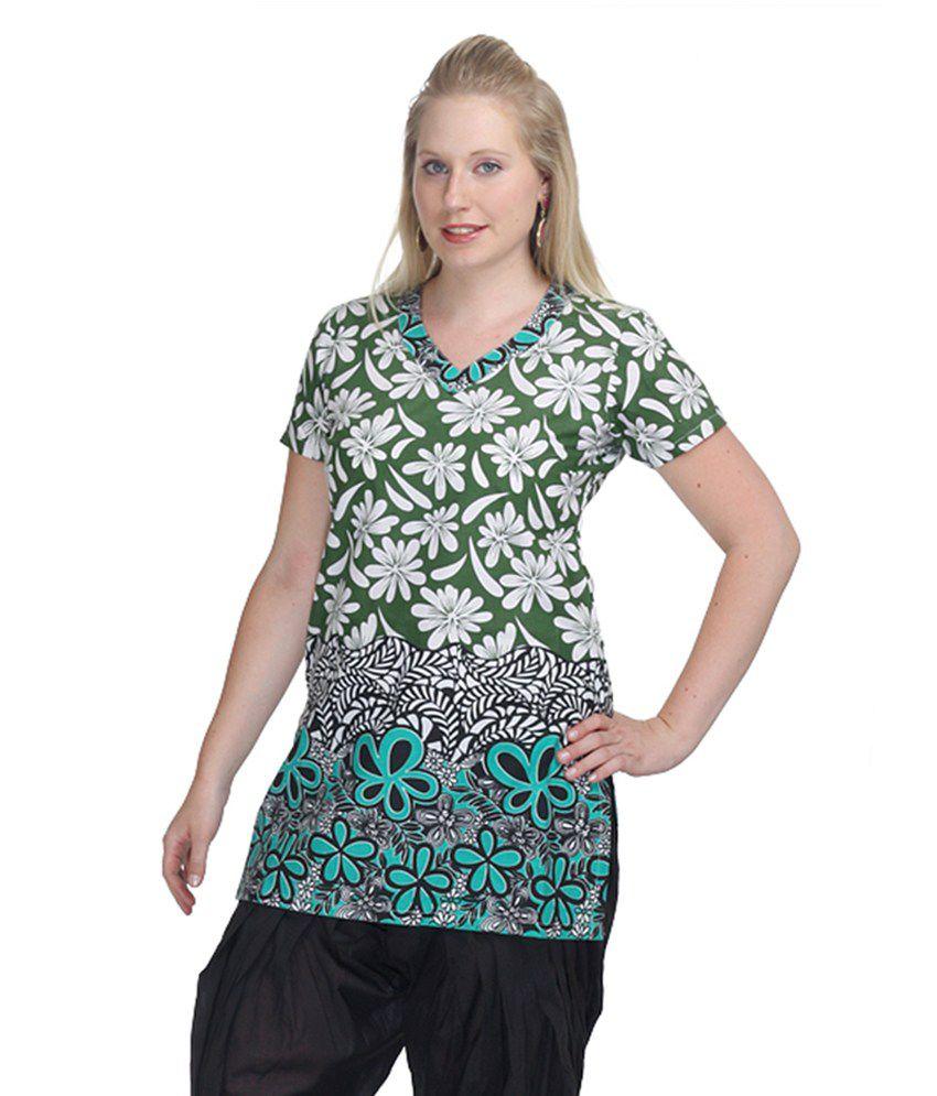 Uptown Galeria Green Printed Cotton Half Short Kurtis