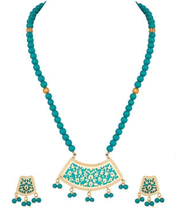 Voylla Glistening Gold Plated Thewa Art; Bead Necklace Set