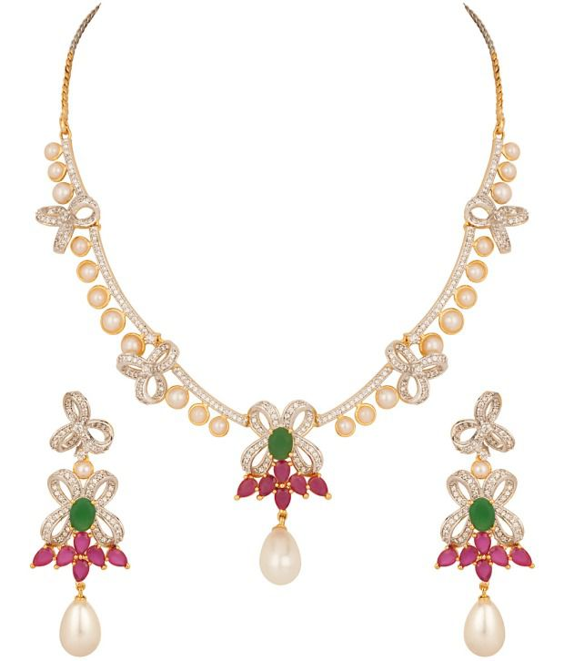 Voylla Gold Plated Vibrant Cz Necklace Set With Pearl Drops; Modern Design