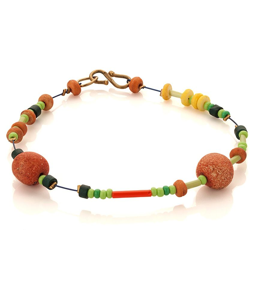 3867760cc Voylla Bead Anklet For One Foot with Yellow  Black  Green  Brown Beads  Buy Voylla  Bead Anklet For One Foot with Yellow  Black  Green  Brown Beads Online in  ...